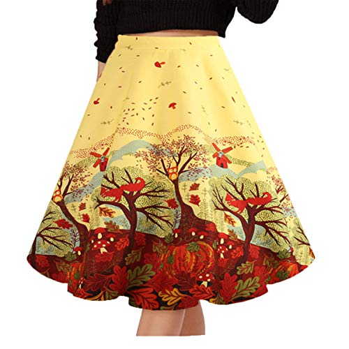(Musever Women's Pleated Vintage Skirts Floral Print Casual Midi Skirt Yellow Tree S)