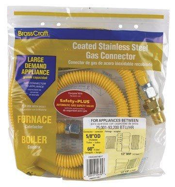 BrassCraft CSSC45E-60 P 1/2-Inch MIP EFV x 1/2-Inch FIP x 60-Inch Safety+PLUS Gas Appliance Connector, 5/8-Inch, OD 93,200 BTU