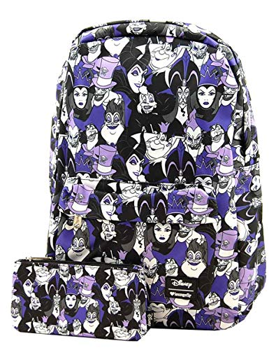 Loungefly Disney Villans Purple Evil Character Backpack and Pouch Set -