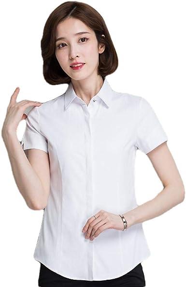 Blusas Y Camisas para Mujer Camisa Profesional Mujer Slim Adelgazante Blanco: Amazon.es: Ropa y accesorios