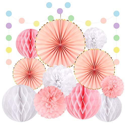 (Pink Party Decorations Hanging Paper Fan Set 13 Pcs Tissue Paper Flower Pom Poms Fans Circle Dot Paper Garland Kit for Girls Boys Birthday Wedding Celebration Baby Shower Party Decor)