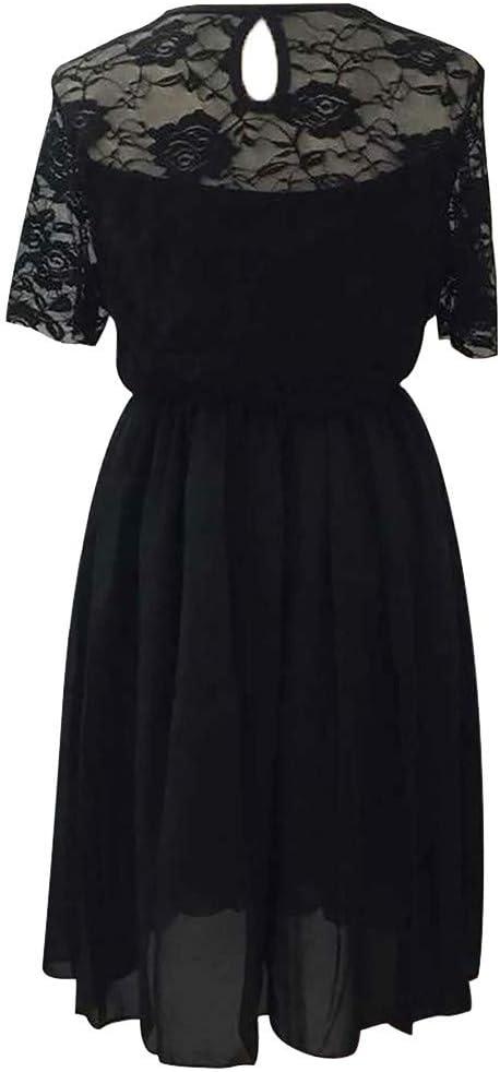 Lenfesh elegancka sukienka koktajlowa z długimi rękawami, długość do kolan, spÓdnica w stylu rockabilly, dla kobiet, duża: Odzież