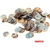 SODIAL (R)Lot 100 Perles Boutons en Nacre Coquillage Rond 15mm