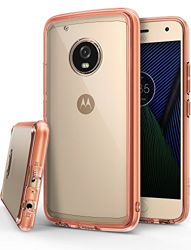 Ringke [Fusion] Compatible with Motorola Moto G5 Plus Case Crystal Clear PC Back TPU Bumper Case [Drop Protection, Shock Absorption Technology] - Rose Gold