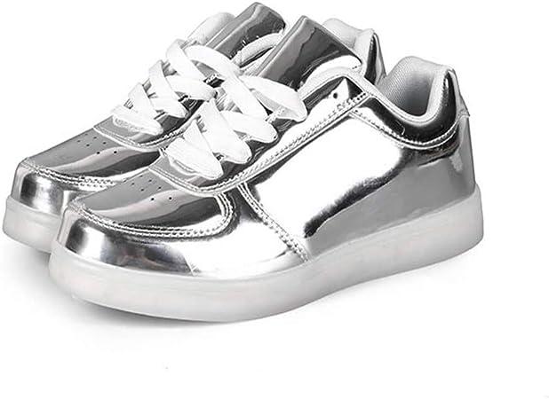 xiezi Unisex Zapatos con LED,Deportivas LED Malla Zapatillas con Luces Planas Running Comodas Transpirable de Zapatos(Oro,Plata) silver-46: Amazon.es: Hogar