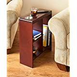 SLIM END TABLE WALNUT WITH CUP HOLDERS STORAGE MAGAZINE SOFA