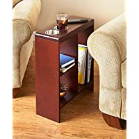 The Lakeside Collection Slim End Table with Drink Holders - Walnut