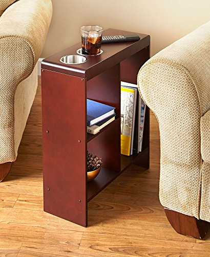 Slim End Table with Drink Holders and