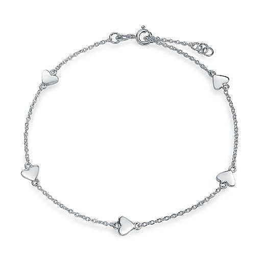 sterling silver heart anklet silver heart ankle bracelet 8IFLgPzeVA