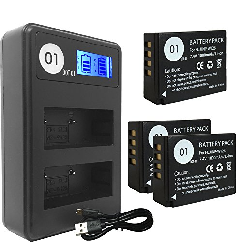 DOT-01 3x Brand 1800 mAh Replacement Fujifilm NP-W126 Batteries and Smart LCD Display Dual Charger for Fujifilm X-T20 Digital Camera and Fujifilm NPW126 by DOT-01