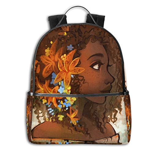 Black Girl Bohemian Afro Ringlet Ponytail Fashion School Backpack Unisex Classic Lightweight Backpack Printing Cute For Boys Girls High School College Schoolbag Sloth (Hairstyles For African American Girls Ages 10 12)