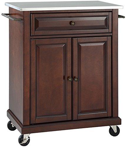 Dark Mahogany Island - Crosley Furniture Cuisine Kitchen Island with Stainless Steel Top - Vintage Mahogany