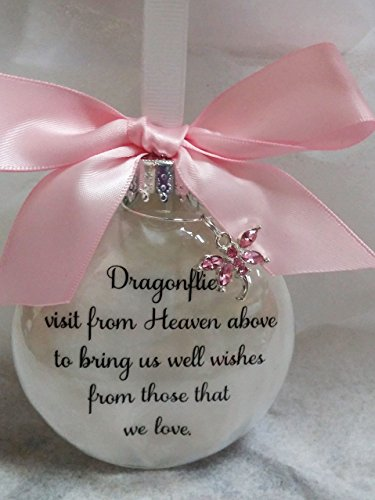 (Pink Crystal Dragonfly Memorial Christmas Ornament - Dragonflies visit from Heaven Sympathy)