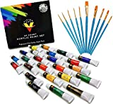Acrylic Paint Set 24 Colors- Bonus 10 Acrylic Paint Brushes Included - Acrylic Paints for Artists - Heavy Body Acrylic Paint - Artist Quality Acrylic Paint - Canvas Paint with Acrylic Paint Brush Set
