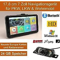 Elebest 17,8cm 7 Zoll Navigationsgerät,mit 24 GB Speicher,Für PKW,LKW&Wohnmobil,GPS,Navigation,Funk Rückfahrkamera,Bluetooth,Fahrspurassistent,Geschwindigkeitsanzeige,Neuste Karten sowie Radarwarner