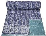 Yuvancrafts New Block Indigo Blue Fish Print Cotton