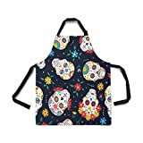 InterestPrint Adjustable Bib Apron for Women Men Girls Chef with Pockets, Day of The Dead Traditional Mexican Sugar Skull Flower Novelty Kitchen Apron for Cooking Baking Gardening Grooming Cleaning