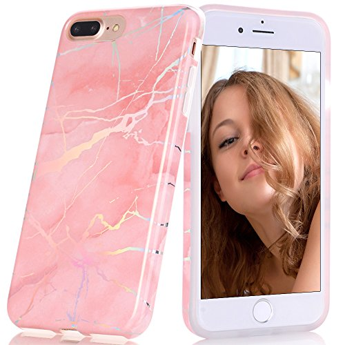 BAISRKE Shiny Laser Style Pink Marble Design Bumper TPU Soft Rubber Silicone Cover Phone Case Compatible with iPhone 7 Plus/iPhone 8 Plus [5.5 inch]