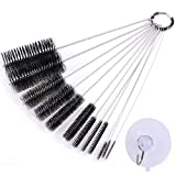 eZAKKA 9.8 Inch 12 Pieces Nylon Tube Brush Pipe Cleaning Brush with Protective Cap for Drinking Straws Glasses Keyboards Jewelry Cleaning with 45mm Transparent Suction Cup Hook (Black)