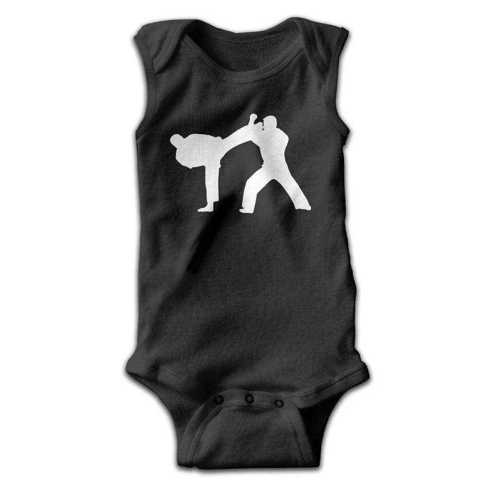 Taekwondo Infant Baby Boys Girls Crawling Suit Sleeveless Onesie Romper Jumpsuit Black