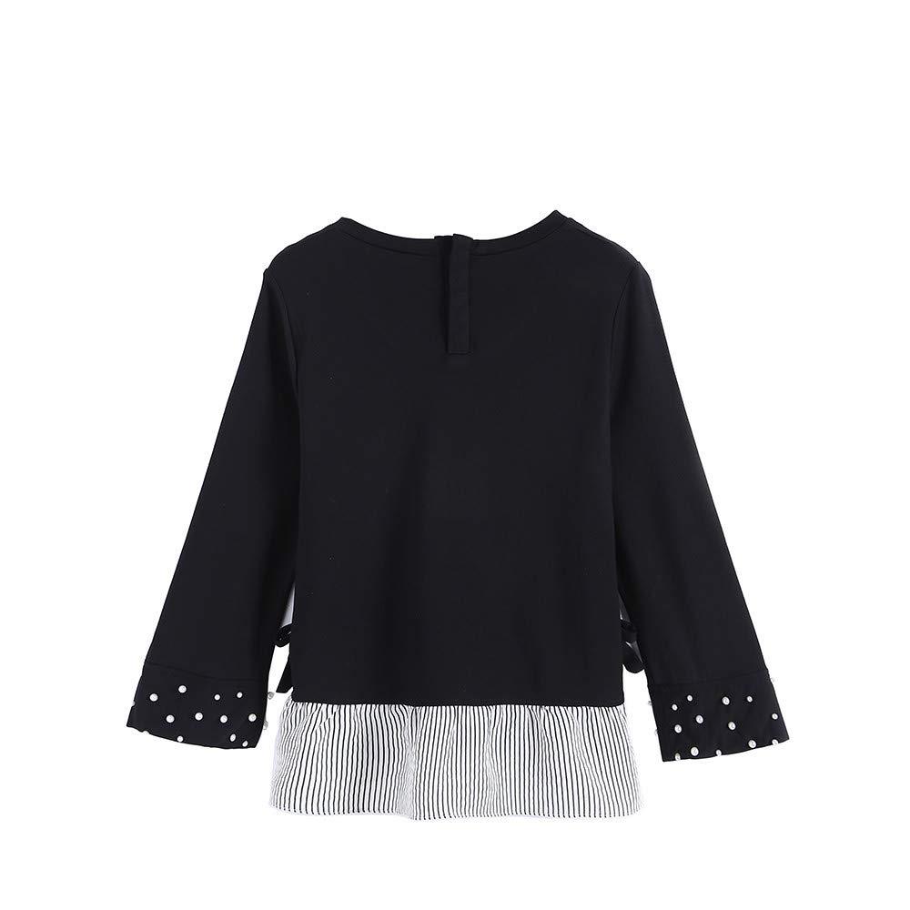 AKwell Women Casual Top Pullover Shirt Nine Sleeve Round Collar False Two-Piece T Shirt Bottoming Shirt