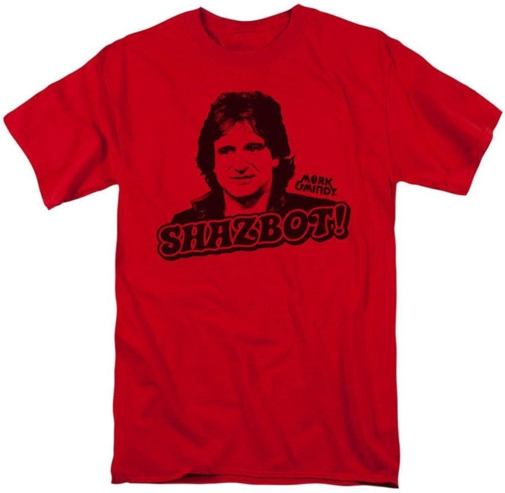 Mork y Mindy Shazbot Mens Camisa Manga Corta (Rojo, XXX ...