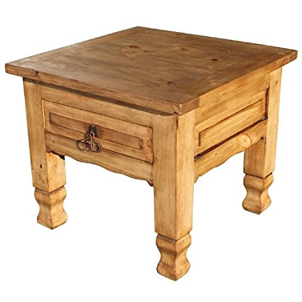 Keko Mexican Rustic Pine End Table