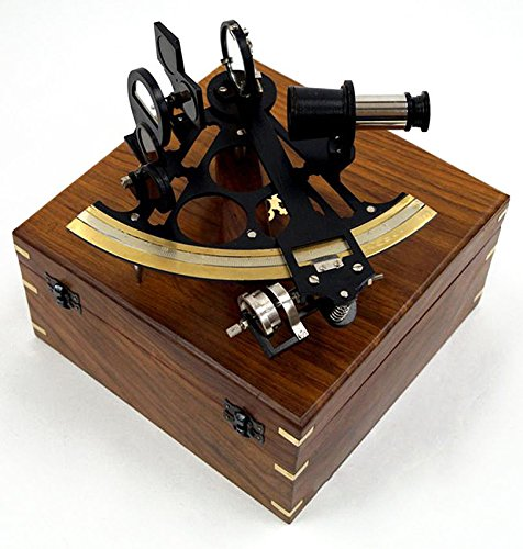 Large-Brass-Sextant-Black-9-Wooden-Case-Nautical-Maritime-Astrolabe-Decor