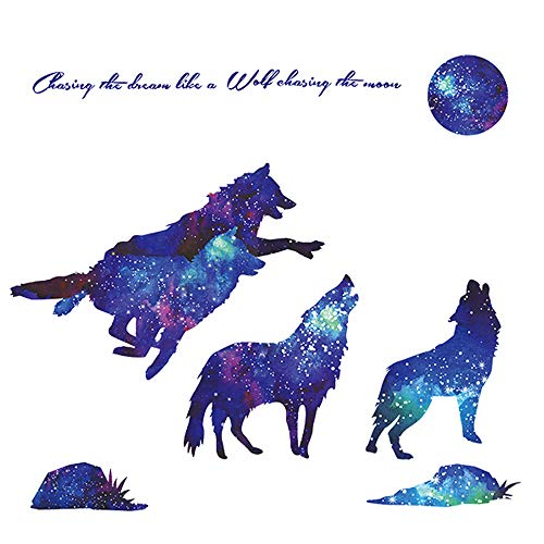 Kids Wolf - Amaonm Creative Blue Vinyl Starry Sky Wolf and Moon Stars Wall Decals Removable Stickers Living Room Decor Home Art Kids Bedroom Decal Nursery Sticker Boy Rooms Mural Children Gift Sticker Decal