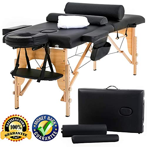 "Massage Table Massage Bed Spa Bed Adjustable 73"" Long 2 Fold PU Portable Salon Bed Wooden Frame Ergonomic Headrest W/Bolsters Sheets Carry Case for Facial Treatment Tattoo Beauty"