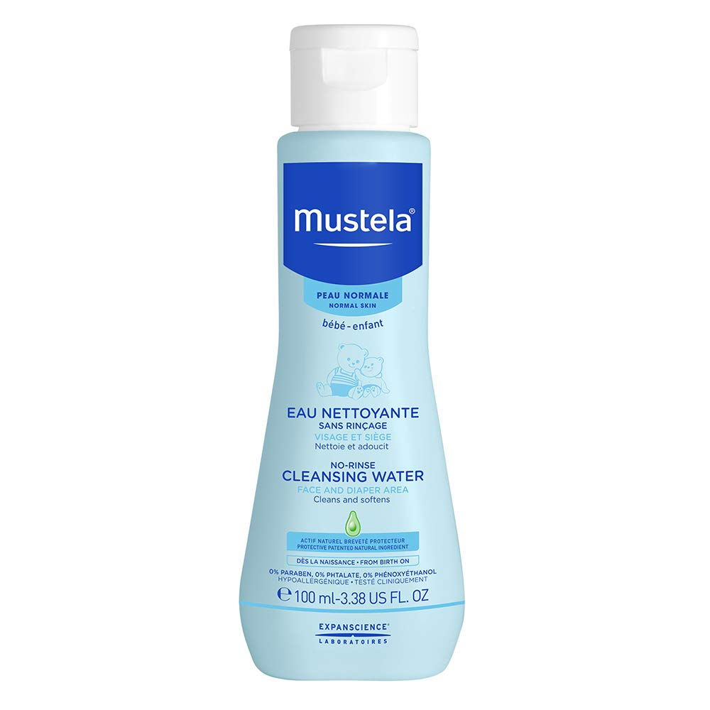 Mustela No Rinse-Baby Cleanser – Micellar Water – with Avocado & Aloe Vera – For Baby's Face, Body & Diaper – 3.38 fl…