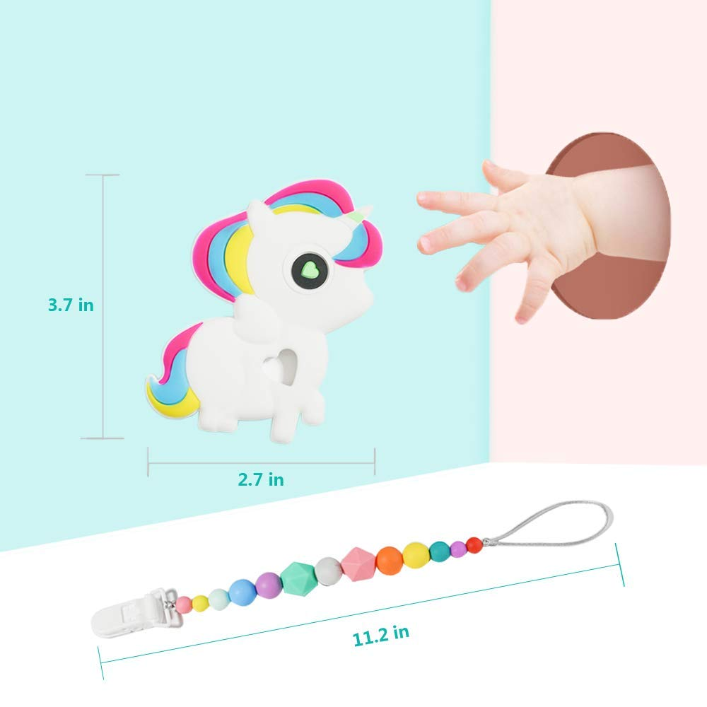 Unicorn Teether with a Rainbow Pacifier Clip Soft BPA Free and FDA Approved Great Shower Gift for Baby Bendable/,Chewable and Freezer Safe Gums Massager Easy to Hold FANSIDI Baby Teething Toys Bendable,Chewable and Freezer Safe Gums Massager