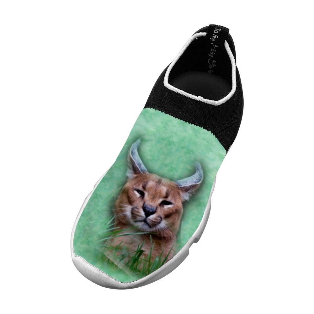 Sports Flywire Weaving Shoe For Unisex Children,Print Animals Wild Cat,
