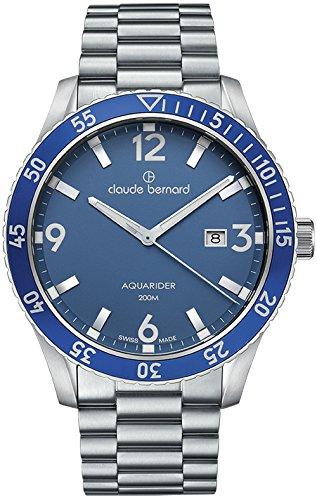 Claude Bernard Men's 53008 3MBU BUIN Aquarider Analog Display Swiss Quartz Silver Watch