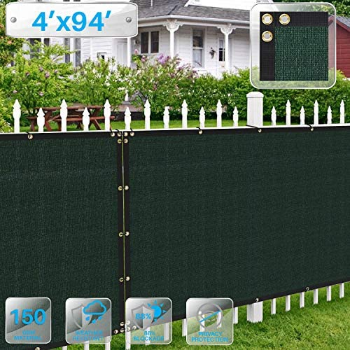 Patio Paradise 4 x 94 Dark Green Fence Privacy Screen, Commercial Outdoor Backyard Shade Windscreen Mesh Fabric with Brass Gromment 88 Blockage- 3 Years Warranty Customized
