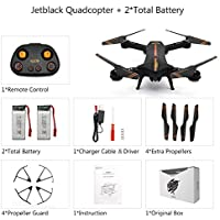 Beyondsky RC Drone Jetblack Foldable Selfie Quadcopter Drone 2 Batteries Compact Smart FPV Drones 2.4GHz with 120° FOV 720P HD Camera Video (Jetblack 2 battery)