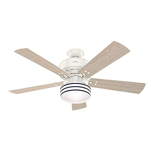 Hunter Indoor Outdoor Ceiling Fan with light and remote control – Cedar Key 52 inch, White, 55077