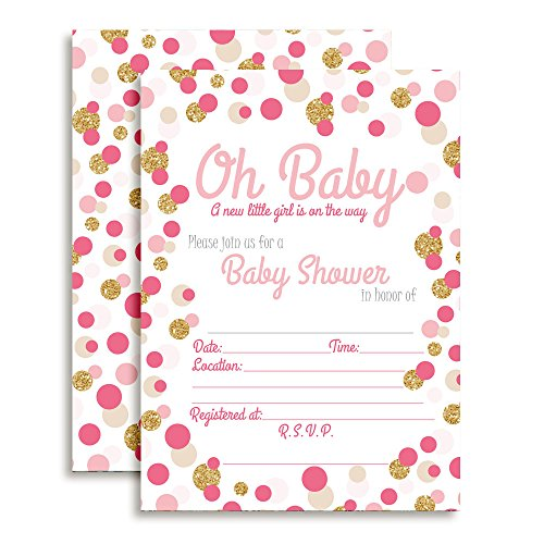 Amanda Creation Polka Dot Pink and Gold Girl Baby Shower Fill in Style Invitations. Set of 20 Including envelopes ()