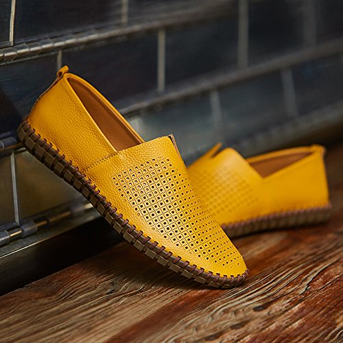 Casual with Slip Breathable Leather Shoes Moccasins on Driver Yellow Fisca Flat Hole Men's Loafer ICw1qxzq