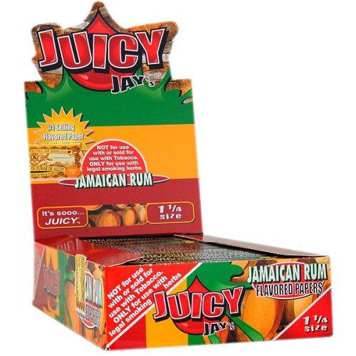 JUICY JAY'S FLAVORED PAPERS 32 LEAVES 1 1/4 JAMAICAN RUM FLAVOR PACK OF 24 Platinum Rum