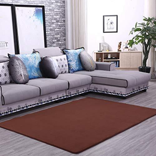 GIY Solid Indoor Rectangular Area Rugs Soft Living Room Carpets Coral Fleece Anti-Slip Children Bedroom Rug Home Decor Modern Runners Nursery Rugs Coffee 6' x 8'