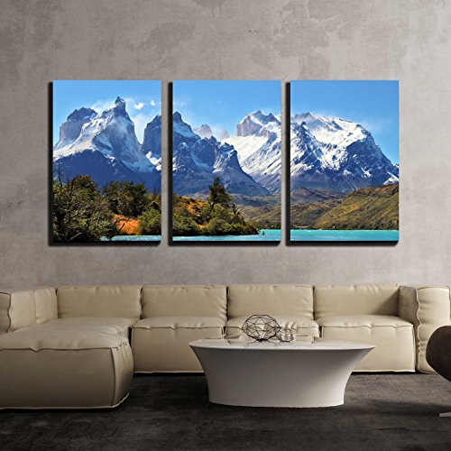 wall26 - 3 Piece Canvas Wall Art - Azure Lake Pehoe at the Foot of the Magnificent Snow-Covered Cliffs of Los Kuernos - Modern Home Decor Stretched and Framed Ready to Hang - 24