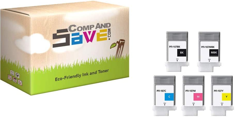CompAndSave Replacement for Canon PFI-107 Black /& Color 5-Pack Ink Cartridges