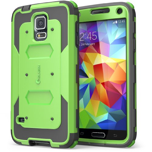 Galaxy S5 Case, i-Blason Armorbox Dual Layer Hybrid Full-body Protective Case with Front Cover and Built-in Screen Protector / Impact Resistant Bumpers (Green)