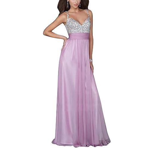 ZhuiKun Mujer Vestido de Noche Elegante V Cuello Sin Espalda Maxi Vestido de Partido Largo