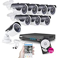 TECBOX Smart Security Camera CCTV System, Camera 4Pack - 8CH 720P DVR 2TB HD Indoor/Outdoor WaterProof Metal Housing IR Cut Motion Detection Surveillance Video Camera