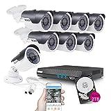 TECBOX Smart Security Camera CCTV System, Camera 4Pack - 8CH 720P DVR 2TB HD Indoor/Outdoor WaterProof Metal Housing IR Cut Motion Detection Surveillance Video Camera