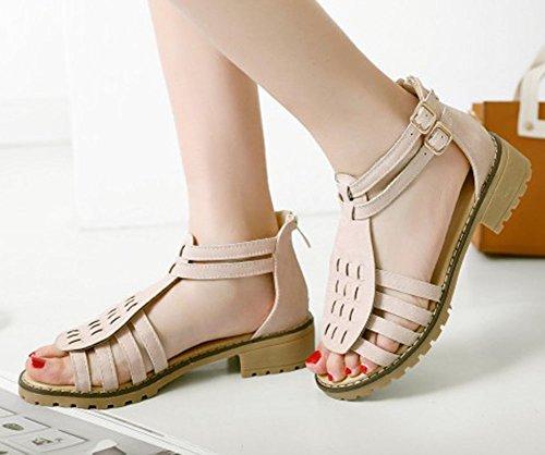 Easemax Donna Trendy Open Toe Zip Up Basso Tacco Grosso Cinturino Alla Caviglia Sandali Gladiatore Rosa