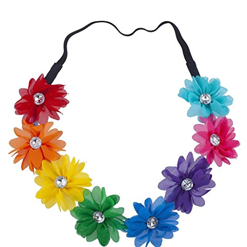 Price comparison product image Lux Accessories Multicolor Gay Pride Parade Rainbow Headband Flower Crown