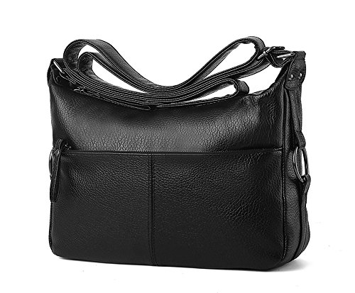 Mn&Sue Women Casual Crossbody Small Hobo Shoulder Bag Black PU Leather Travel Purse for Lady (Black - Style B)